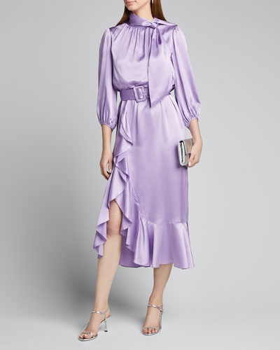 Bella Belted Silk Tie-Neck Ruffle Dress
