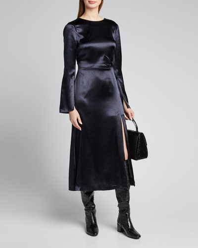 Paulena Slit Long-Sleeve Midi Dress