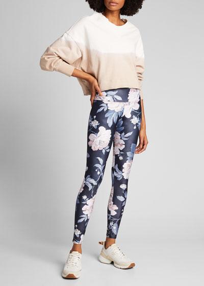 High Rise Floral-Print Yoga Leggings