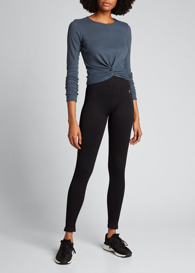 Twirl Long-Sleeve Knot-Front Crop Top