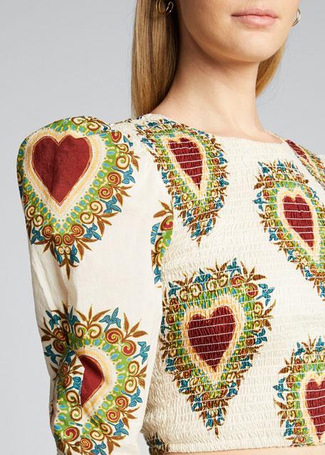 Rita Smocked Heart-Print Cropped Blouse