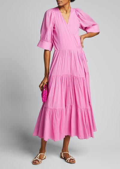 Gina Tiered Short-Sleeve Wrap Dress