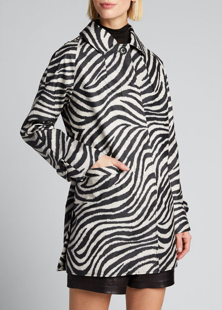 Zebra-Print Short Slicker Coat