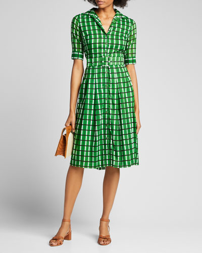 Audrey 3 Roman Check 1/2-Sleeve Belted Shirtdress
