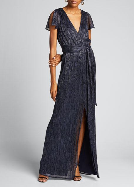Textured Metallic Jersey V-Neck Split-Sleeve Gown