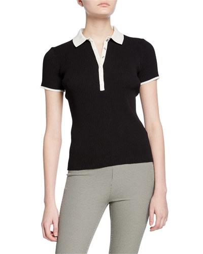Libby Short-Sleeve Ribbed Polo Shirt