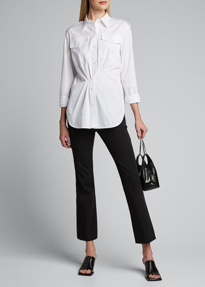 Gathered Button-Front Shirt