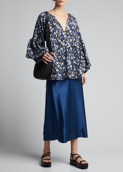 Lucinda Floral Blouson-Sleeve Top