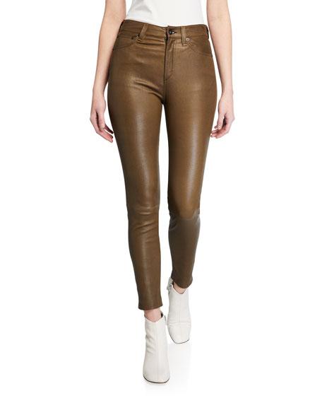 Nina High-Rise Skinny Leather Ankle Pants