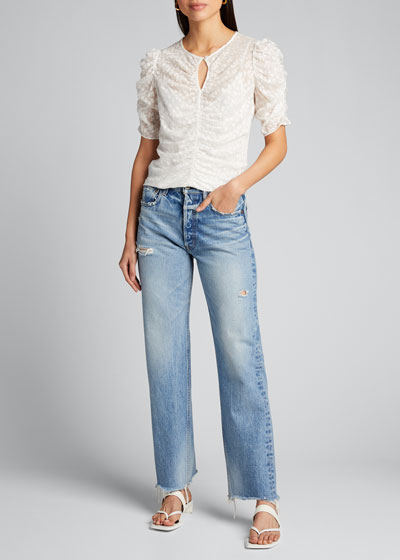 Lomita Wide Straight-Leg Distressed Jeans