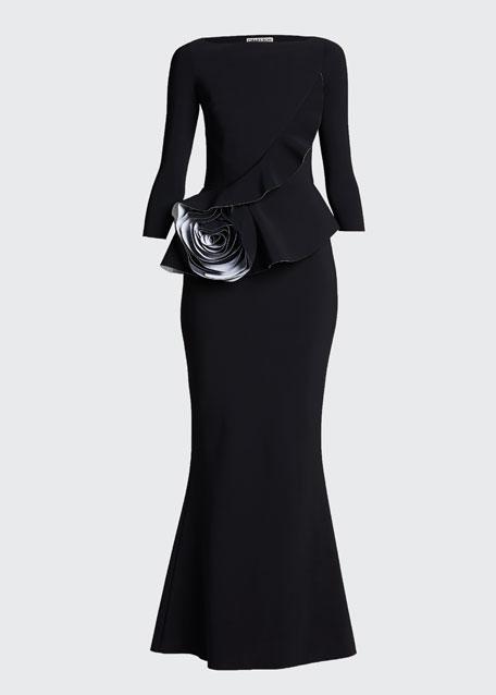 3/4-Sleeve Rosette Peplum Gown