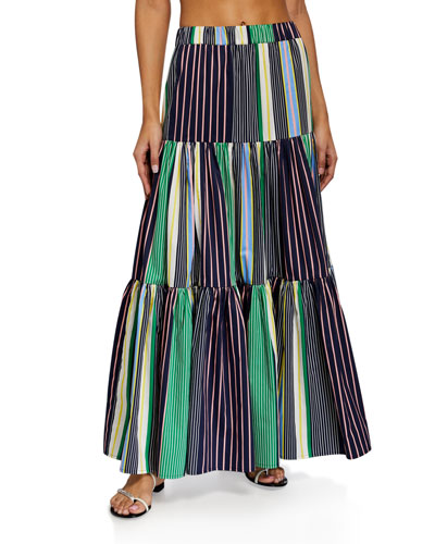 Striped Tiered Maxi Skirt