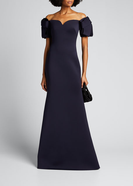 Off-the-Shoulder Elbow-Sleeve Scuba Trumpet Gown