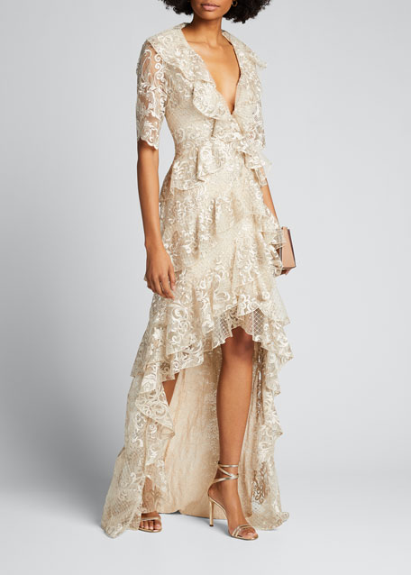 Sequin Lace 1/2-Sleeve Tiered Ruffle High-Low Gown