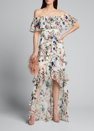 Floral Print Off-the-Shoulder High-Low Ruffle Gown