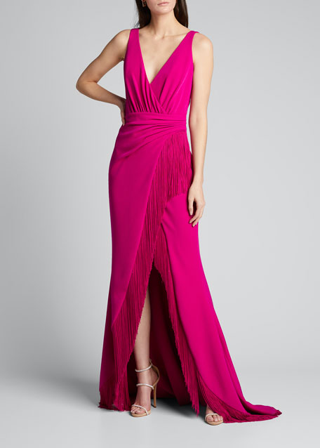 V-Neck Sleeveless High-Low Fringe Gown