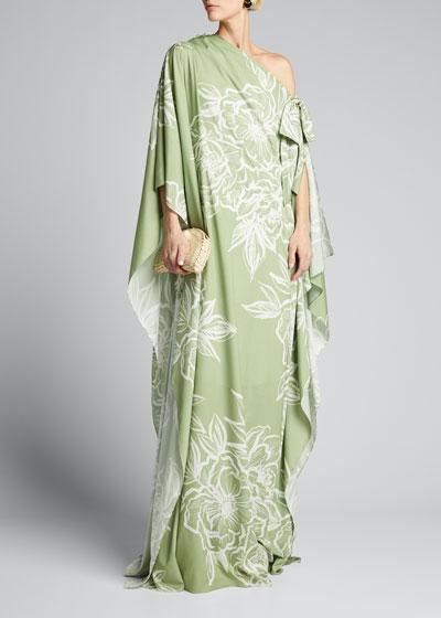 Off-Shoulder Floral-Print Caftan Gown