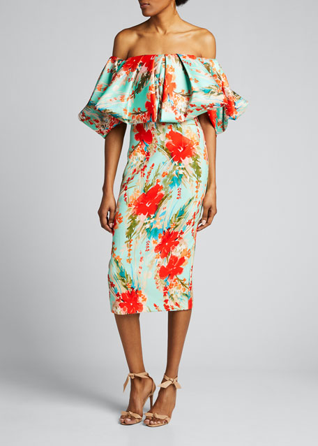 Floral Off-the-Shoulder Puff-Sleeve Sheath Dress