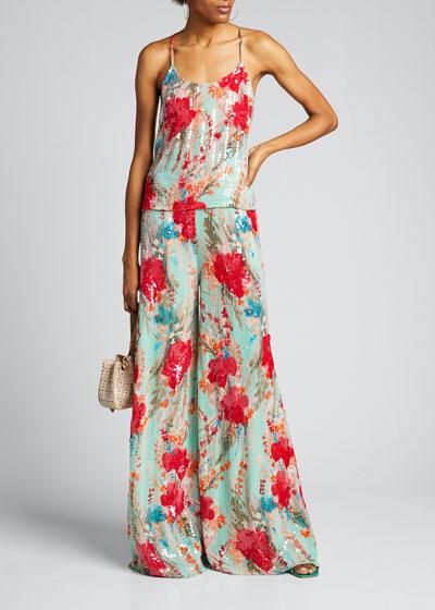 Sequin Floral Wide-Leg Pants