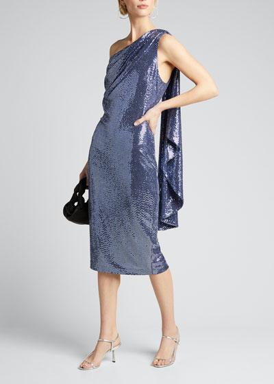 Sequin One-Shoulder Cocktail Dress