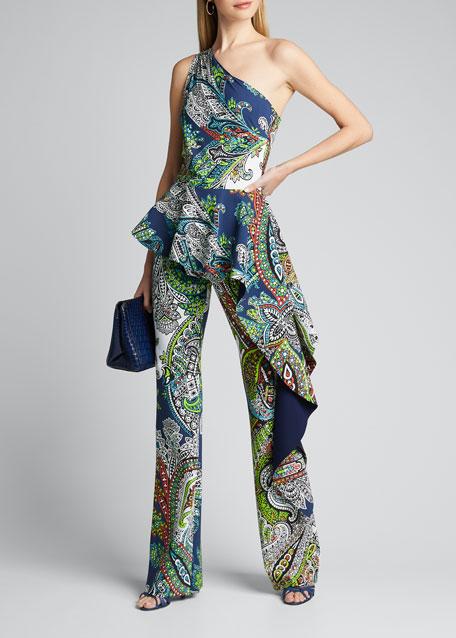 One-Shoulder Paisley-Printed Peplum Jumpsuit