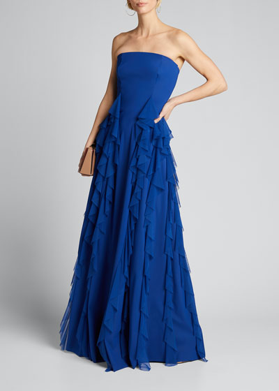 Tube Top Ruffle-Detail Jersey Gown