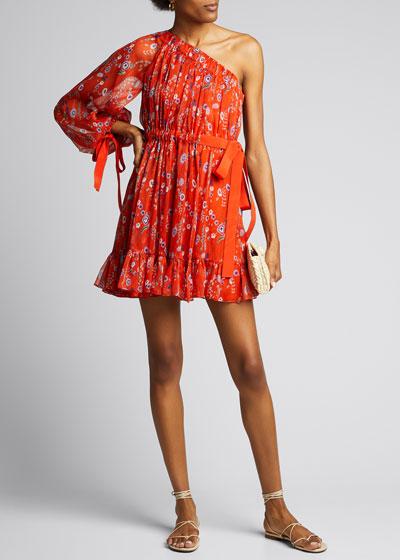 Edyta Gathered One-Shoulder Floral Dress
