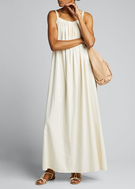 Image 1 of 1: Gathered Cotton Maxi Dress