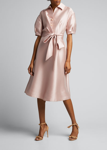 Puff-Sleeve Mikado Shirt Dress