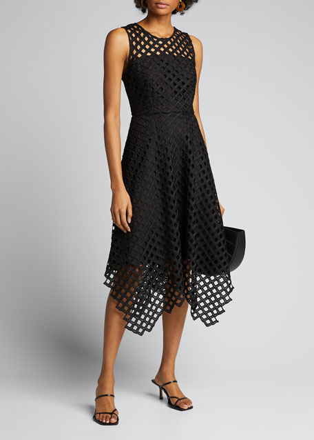 Image 1 of 1: Annemarie Lattice Embroidered Handkerchief Dress