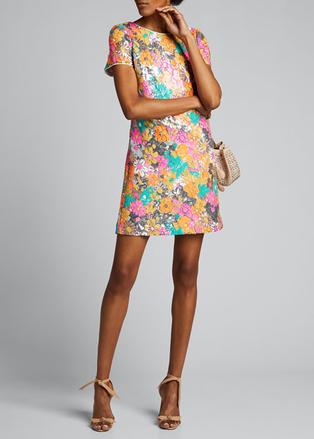 Image 1 of 1: Bea Floral Sequined Sheath Dress
