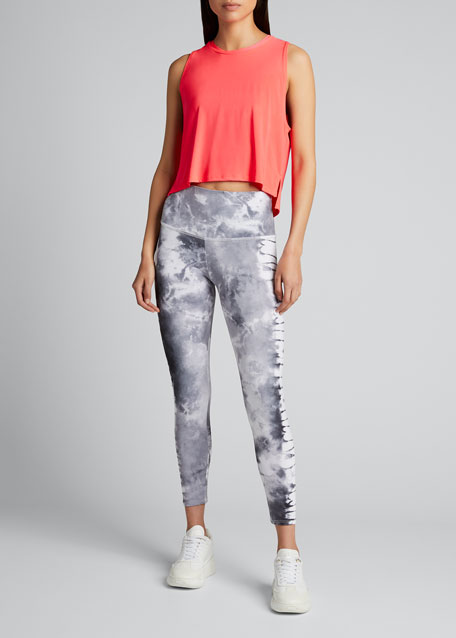 Image 1 of 1: High Rise Graphic Midi Leggings - Tie Dye