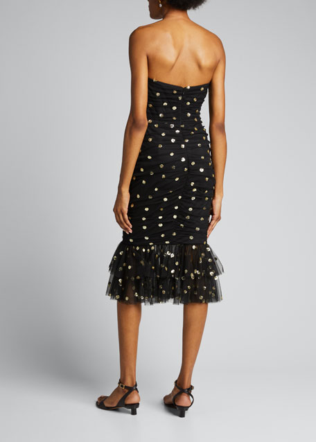 Strapless Sequined Polka Dot Ruched Dress