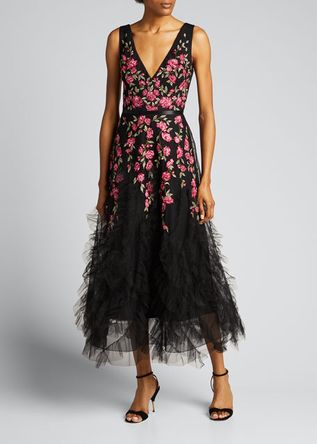 Sleeveless Floral Embroidered Ruffle-Hem Tulle Dress