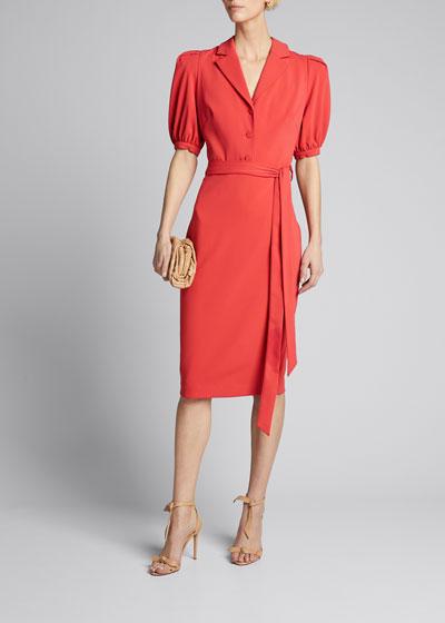 Odessa Paprika Puff-Sleeve Dress