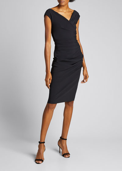 Cap-Sleeve Ruched Front Sheath Dress
