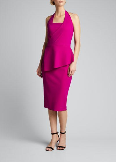 Jilliam Asymmetric Peplum Jersey Halter Dress