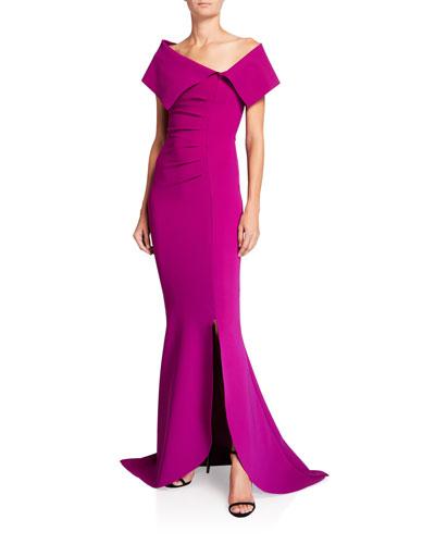 Egida Asymmetric Off-the-Shoulder Mermaid Gown
