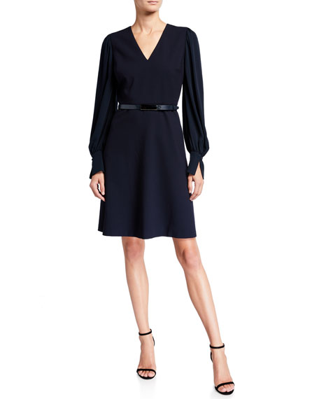 Image 1 of 1: Hale V-Neck Long-Sleeve Belted Dress