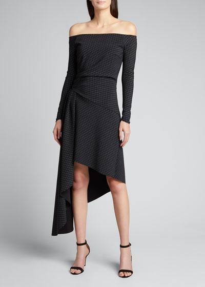 Berner Off-the-Shoulder Long-Sleeve Asymmetrical Dress