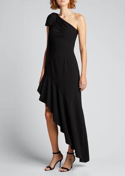 Draped One-Shoulder Asymmetrical Ruffle Hem Dress