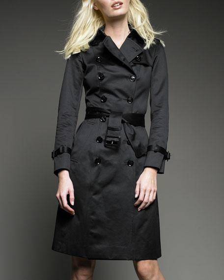 Sateen Trench Coat, Black