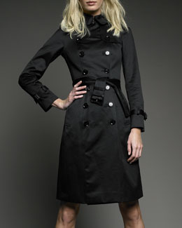Sateen Trench Coat, Black