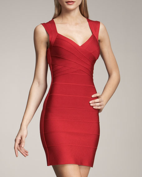 V NECK SLVLS RED DRESS