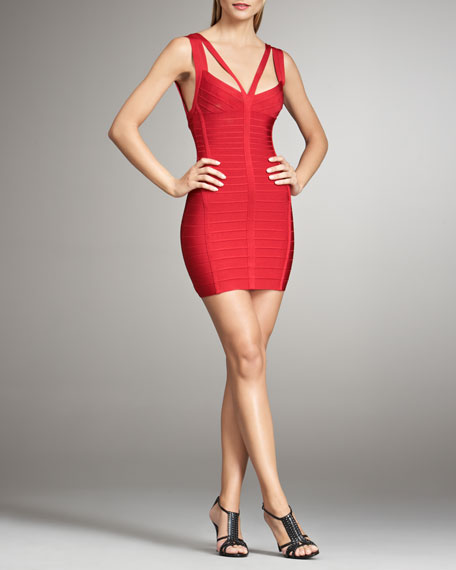 Double-Strap Bandage Dress