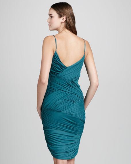 Ruched-Jersey Crisscross Dress