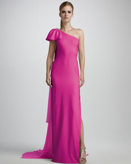 One-Shoulder Column Gown
