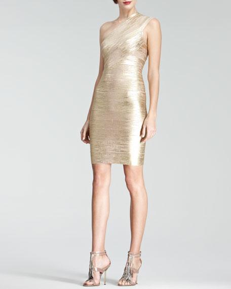 44de71d053c Herve Leger One-Shoulder Metallic Bandage Dress