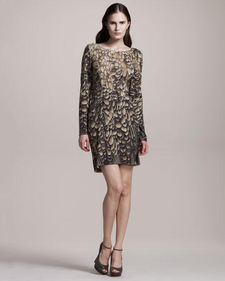 Scallop-Print Knit Dress