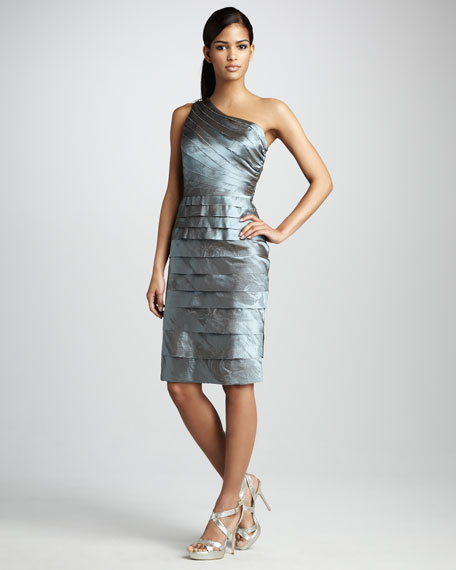 Tiered One-Shoulder Cocktail Dress